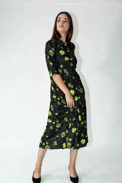 dafina dress green flowers